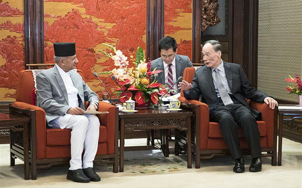 Chinese vice president meets with foreign minister of Nepal