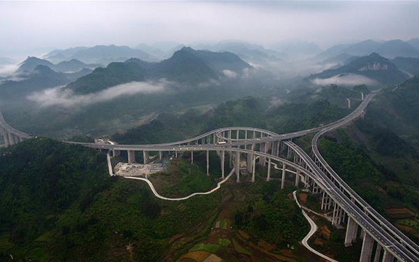 Aerial view of expressway, highway in Hunan